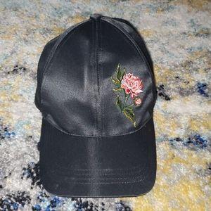 Satin rose embellished hat